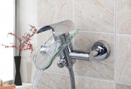 Llave grifo mezcladora pared vidrio tina ba o cascada for Grifo para tina bano