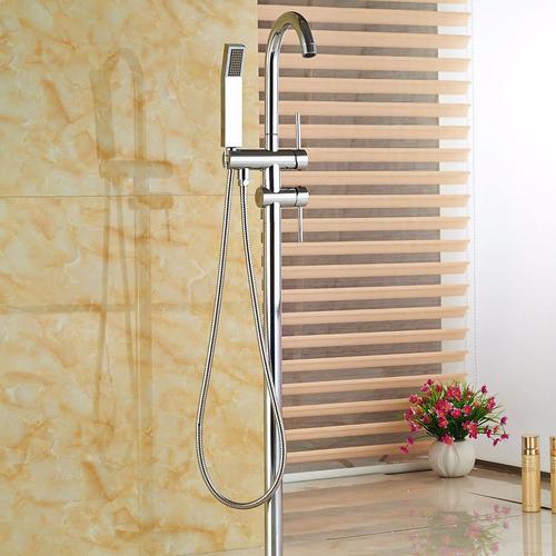 llave grifo mezcladora piso pie bañera tina romana cromado