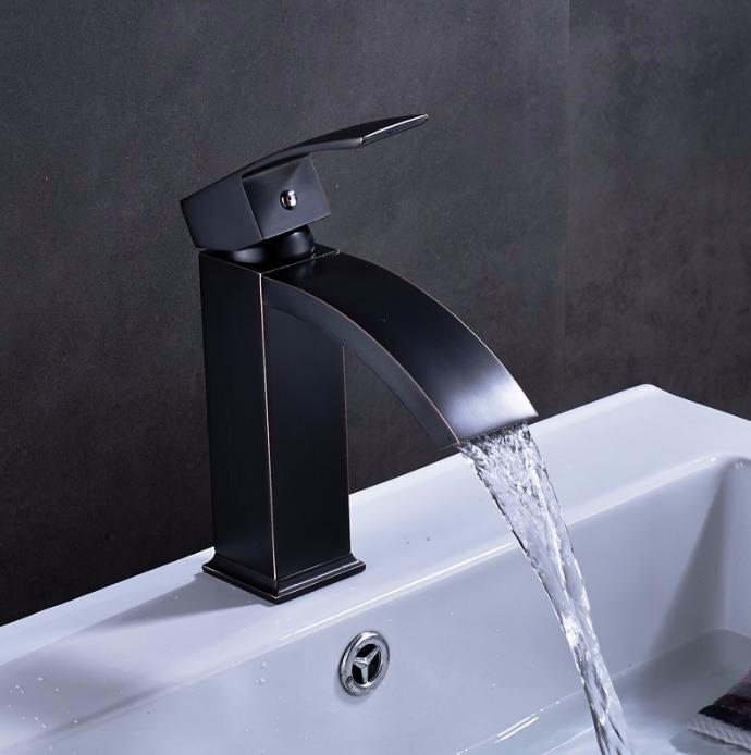 Llave grifo monomando mezcladora lavabo acabado negro for Llave mezcladora para lavabo