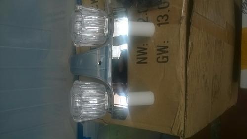 Llave grifo para lavamanos doble en pl stico cromado bs for Precio llave lavamanos