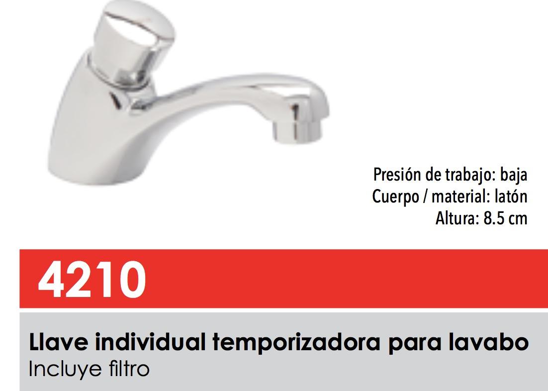 Llave individual temporizadora para lavabo dica 4210 for Llaves para lavabo de bano