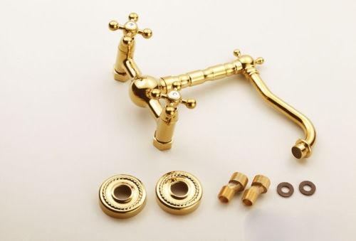 Llave grifo mezcladora ba o cocina muro dorado oro pared for Mezcladora de bano