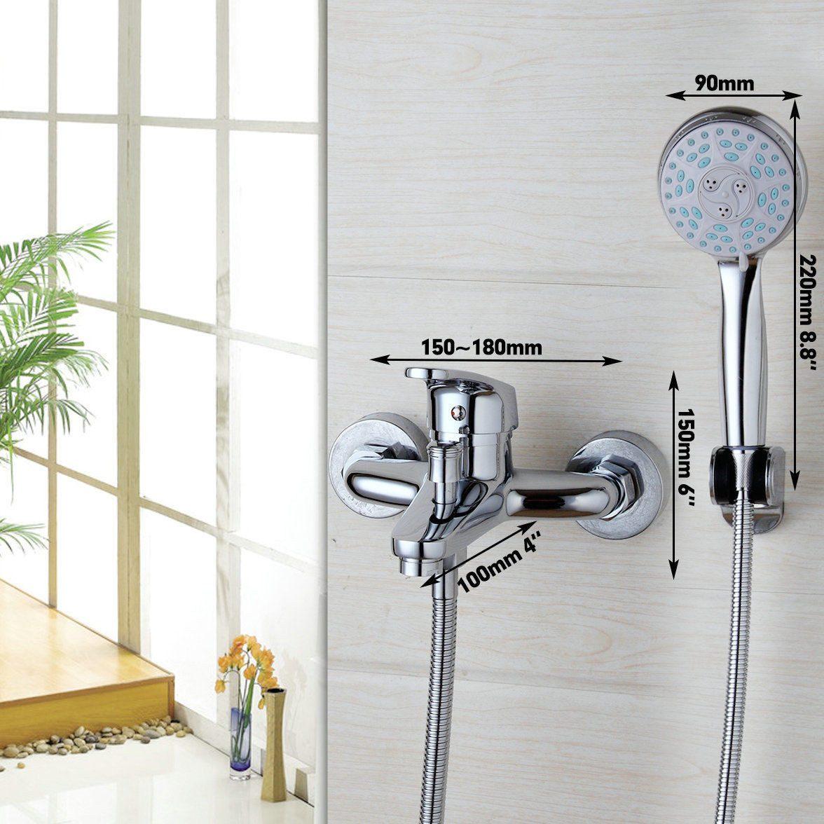 Llave mezcladora grifo con regadera telefono muro para for Llave mezcladora de ducha