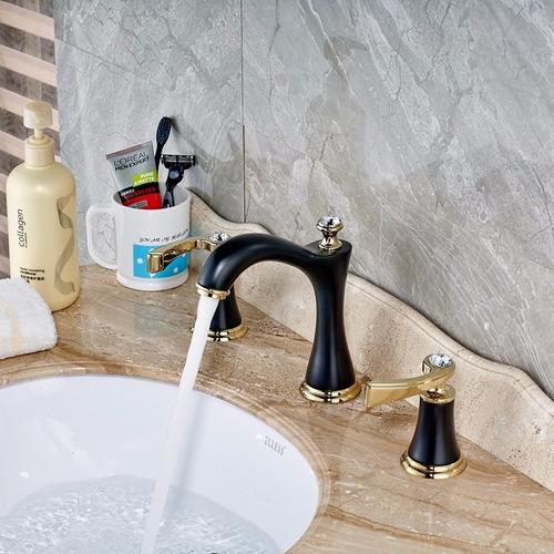 Llave grifo mezcladora lavamanos lavabo acabado negro oro for Llave mezcladora para lavabo