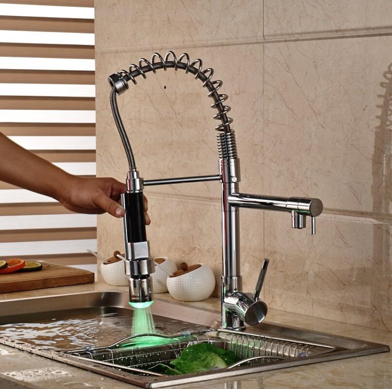 Llave mezcladora luz led monomando cocina tapones de for Llaves mezcladoras para cocina