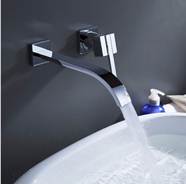 Llave mezcladora monomando grifo ba olavabo cromo pared 8 for Llave mezcladora ducha