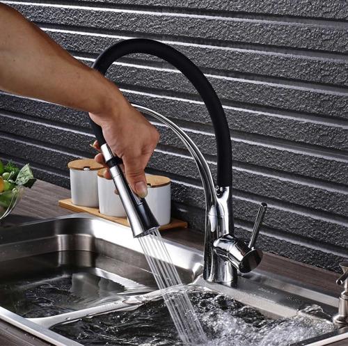 llave mezcladora monomando grifo cocina fregadero en negro