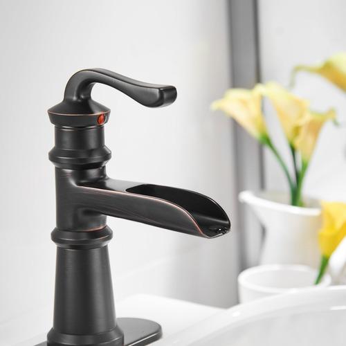llave mezcladora monomando lavamanos color bronze 6560