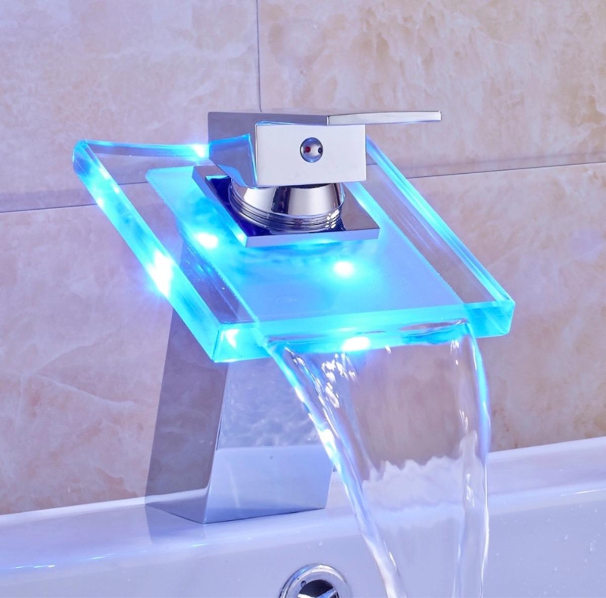 Llave mezcladora monomando led lavabo cristal r0 137 for Repuesto llave monomando