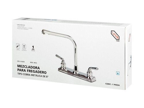 llave mezcladora para fregadero 8´ metal tipo cobra
