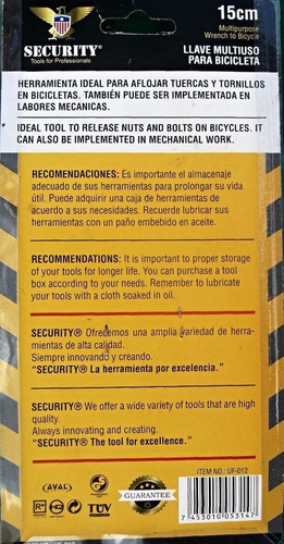 llave multiuso para bicicletas 15cm security