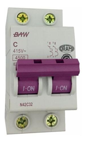 llave termica baw bipolar 2 x 10 15 20 25 32 40 50 63a