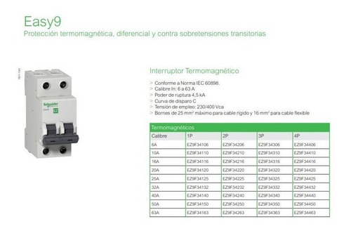 llave termica bipolar 2x10 10a schneider easy9 -e.a-