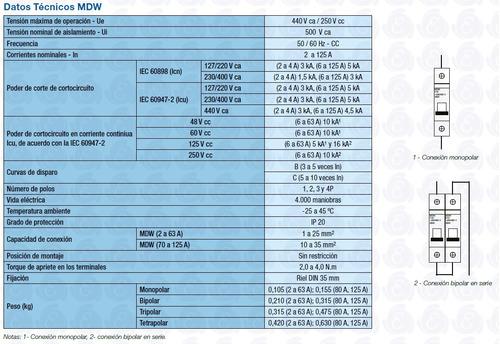 llave termica termomagnetica bipolar weg 6 a