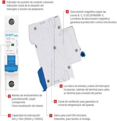 llave termica tetrapolar 10-16-20-25-32a chint 6ka