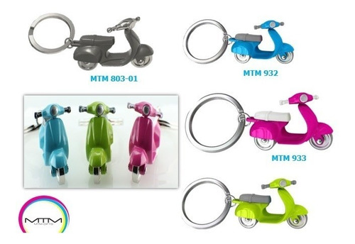 llavero 3d moto scooter original mtm, 4-colores/zinc-acero