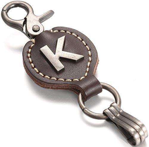 llavero alfabeto de cuero marrón, letra simple con llave de