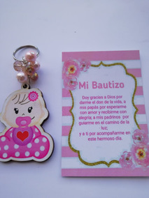 Llavero Bebe Chupon Bautizo Baby Shower Niña Mdf Decorado