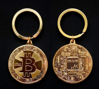 Llavero Bitcoin, Onza Troy Oro (exclusivo)