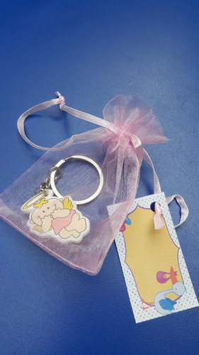 llavero + bolsa + tarjeta recuerdo bautizo, baby shower bebe