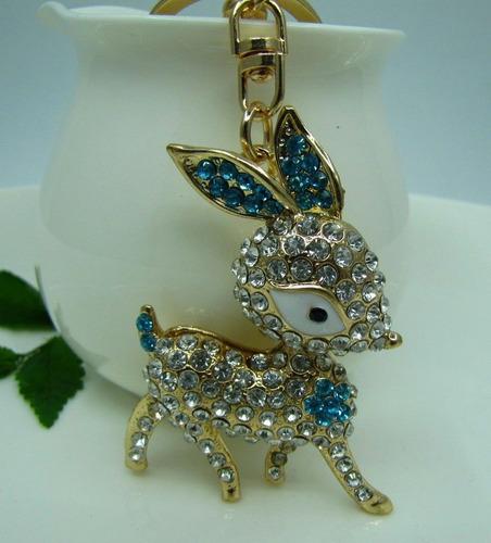 llavero con cristales swarovski  venado azul