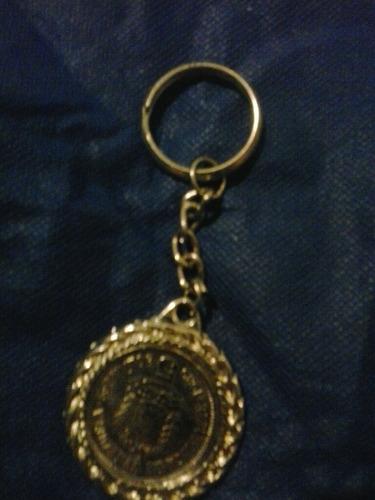 llavero con moneda antigua 1989 de 5 bs