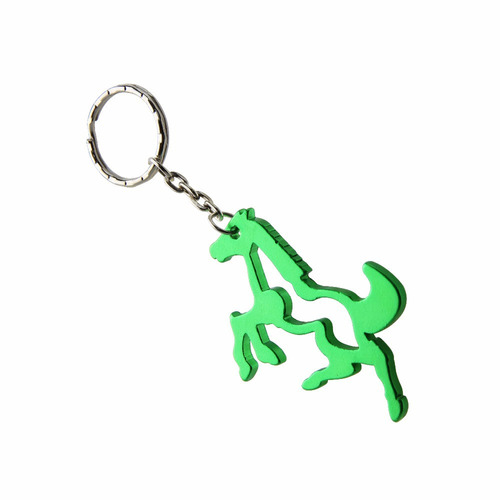 llavero de caballo, destapador botellas, verde metálico
