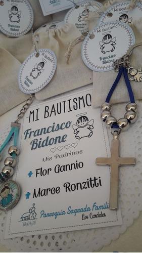 llavero de metal con bolsa y sticker comunion bautismo envio