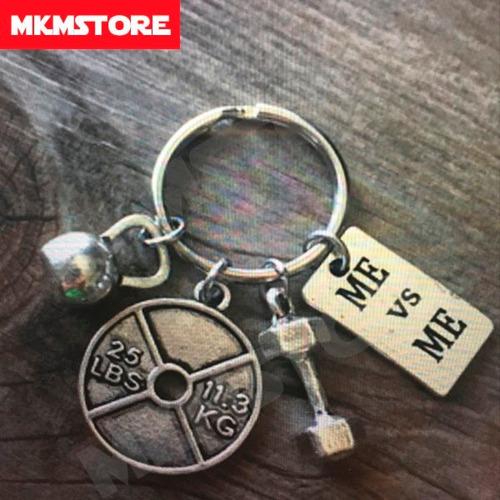 llavero de metal crossfit - kettlebell, disco y dumbbell