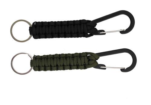 llavero de paracord tejido con cordón trenzado mosquetón