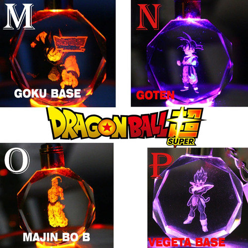 llavero dragon ball goku vegeta led multicolores + estuche