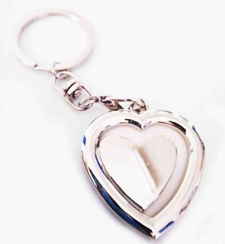llavero metalico porta retrato en forma de corazon