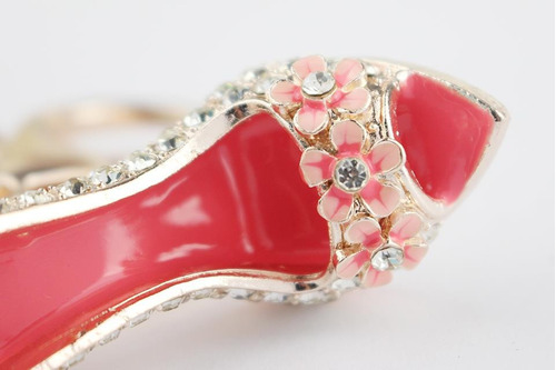 llavero metálico zapato tacon alto rosado dama con cristales