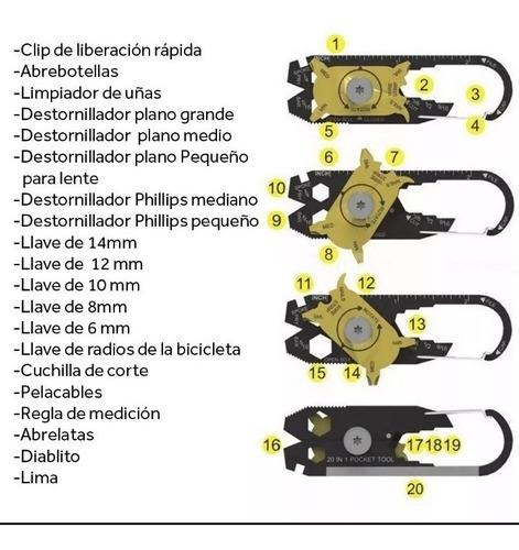 llavero mosqueton multi tool 20 herramientas en 1.