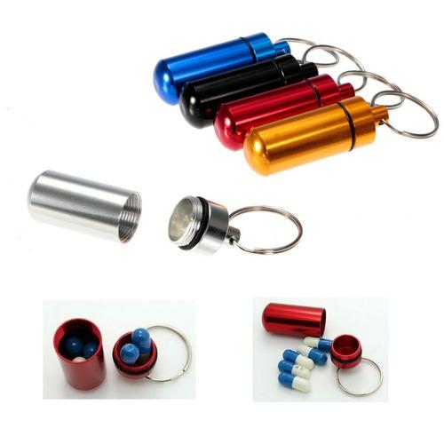 llavero - pastillero porta pildora de aluminio color varios