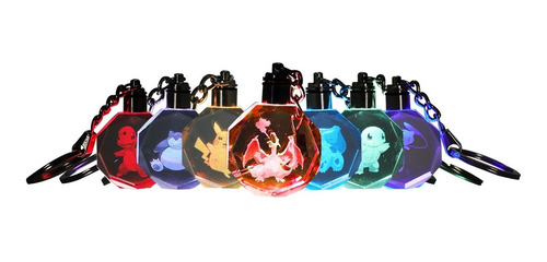 llavero pokemon luz led multicolores + estuche original