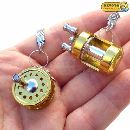 llavero reel rotativo pesca regalo penn abu garcia shimano