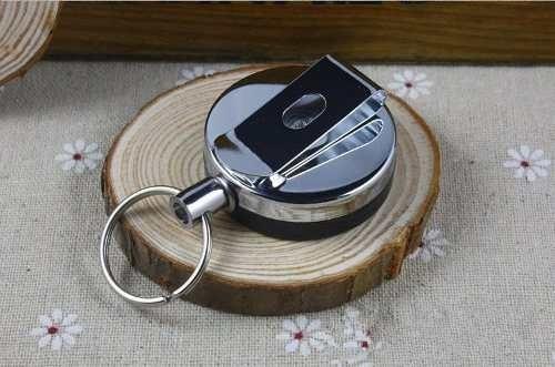 llavero retráctil extensible metálico con clip para ajustar