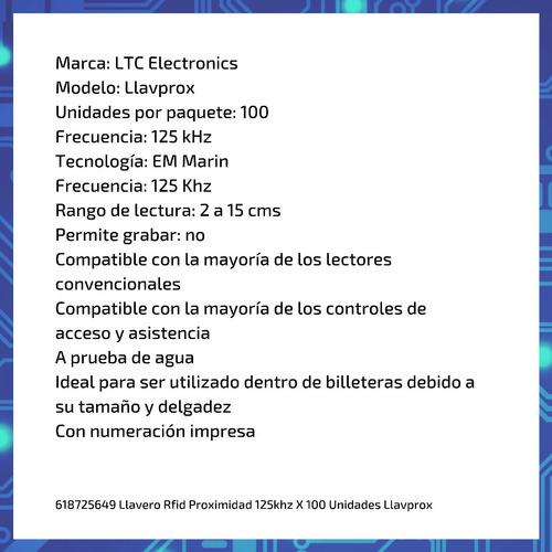 llavero rfid proximidad 125khz x 100 unidades llavprox