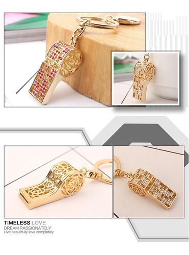 llavero silbato de chapa de oro con swarovski elem - 1112