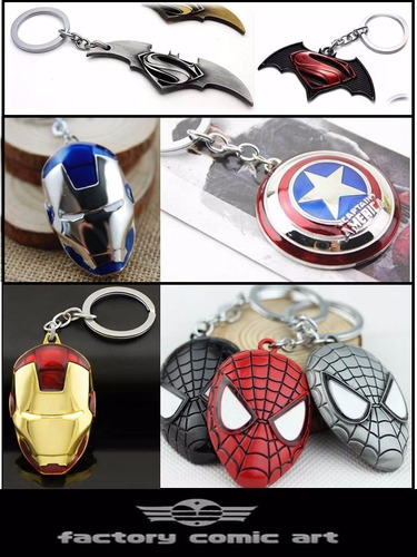 llavero super man batman,spider, capitan america, iron man