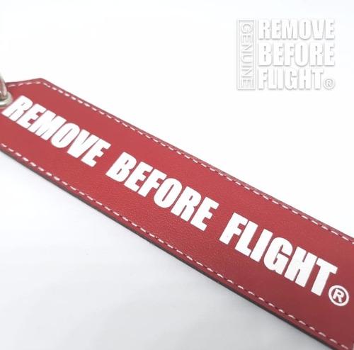 llavero vip  remove before flight rojo de piel - doble vista