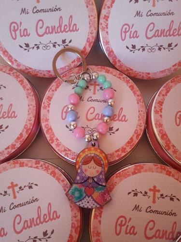 llavero virgen porfis souvenirs c/bolsa arpillera estampita
