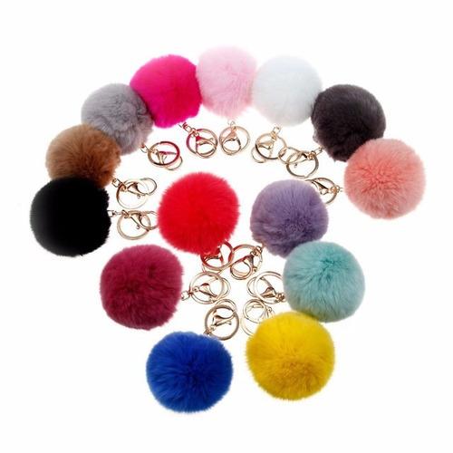 llaveros bola de peluche accesorios bolsas pompon mayoreo
