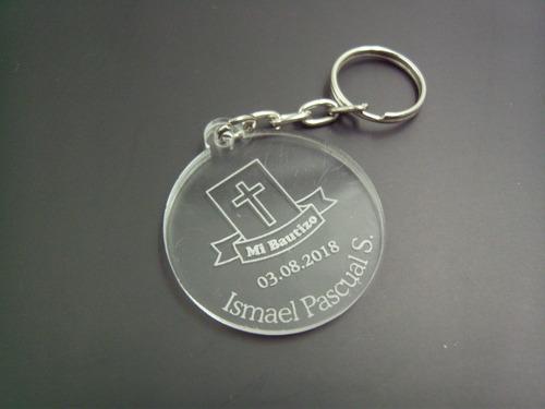 llaveros de acrílico bautizo regalo 20 pzs grabado láser