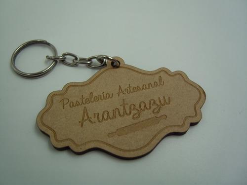 llaveros de madera logotipo personalizado 20 pzs promocional