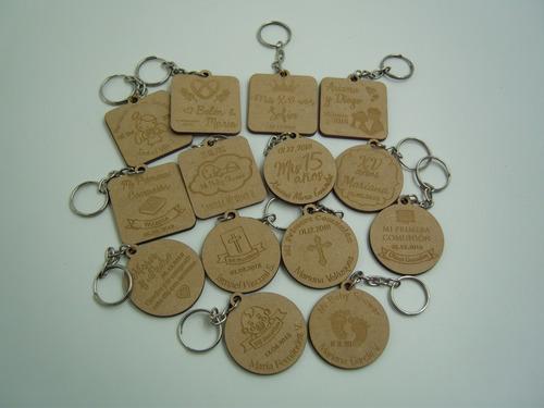 llaveros de madera xv años regalo 20 pzs grabado láser