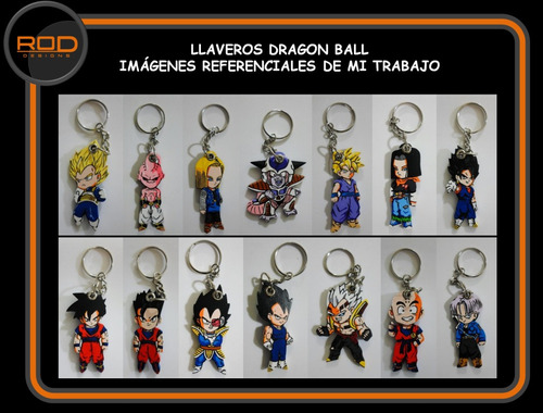 llaveros en madera dragon ball goku vegeta gohan cell