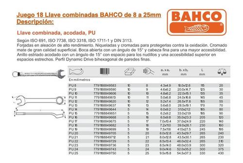 llaves combinadas bahco milmétricas 8 a 25mm juego 18 llaves