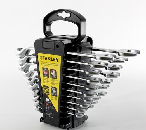 llaves combinadas stanley milimétricas y pulgadas 20 llaves